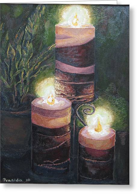 Candle Stand Paintings Greeting Cards - Lighting the dark corners Greeting Card by Prasida Yerra