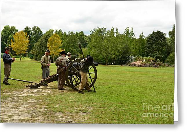 Lighting The Fuse Of A Civil War Canon Greeting Card by Bob Sample