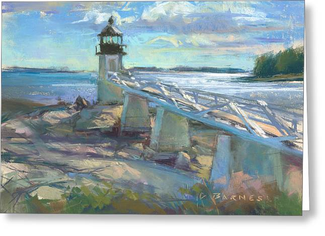 Maine Lighthouses Pastels Greeting Cards - Lighting the Way Greeting Card by Greg Barnes