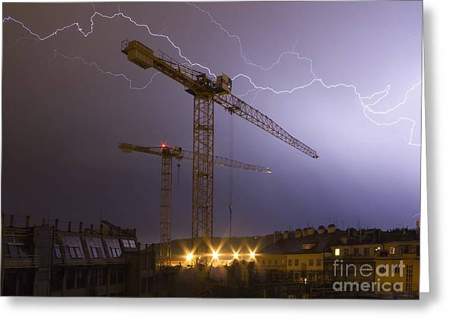 Summer Storm Greeting Cards - Lightings Above City Greeting Card by Michal Boubin