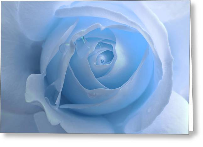 Rain Drop Greeting Cards - Lightness of a Blue Rose Flower Greeting Card by Jennie Marie Schell