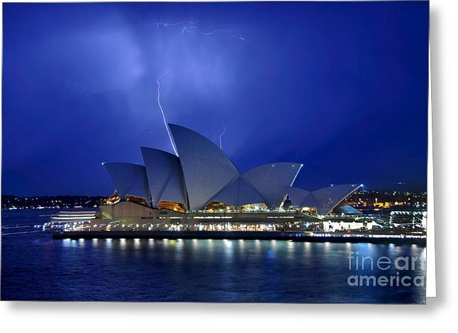 Photography Lightning Photographs Greeting Cards - Lightning above The Opera House Greeting Card by Kaye Menner