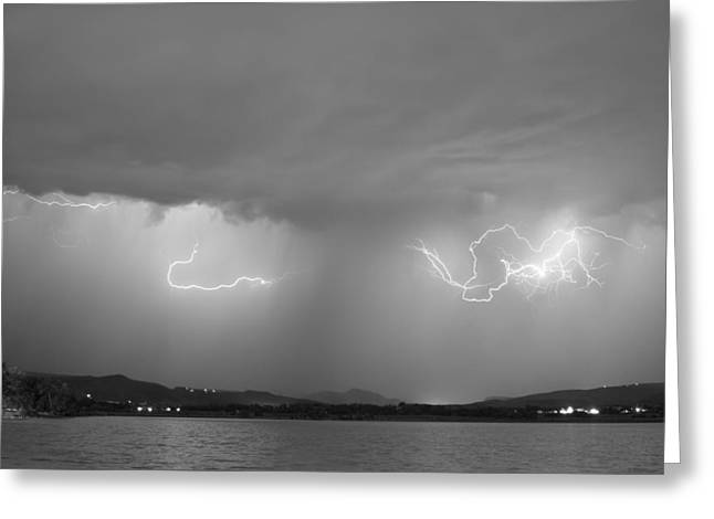 Storm Prints Photographs Greeting Cards - Lightning and Rain Over Rocky Mountain Foothills BW Greeting Card by James BO  Insogna