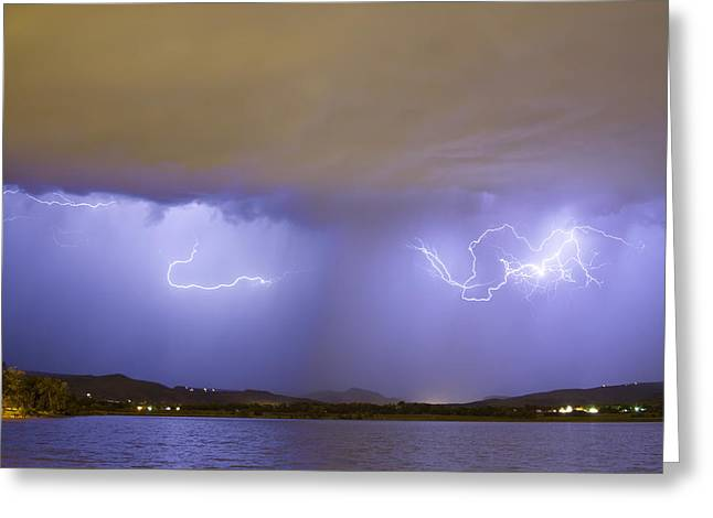 Storm Prints Photographs Greeting Cards - Lightning and Rain Over Rocky Mountain Foothills Greeting Card by James BO  Insogna