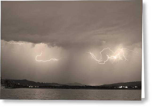 Storm Prints Photographs Greeting Cards - Lightning and Sepia Rain Over Rocky Mountain Foothills Greeting Card by James BO  Insogna