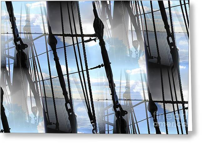 Sailing Ship Greeting Cards - Lightning and Shadows Greeting Card by Four Hands Art