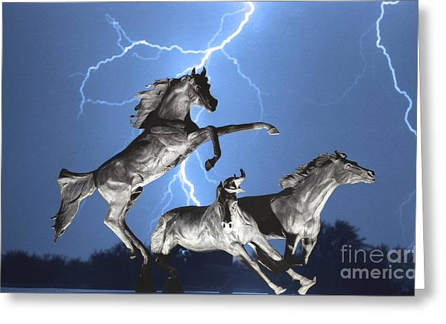 Images Lightning Greeting Cards - Lightning At Horse World BW Color Print Greeting Card by James BO  Insogna