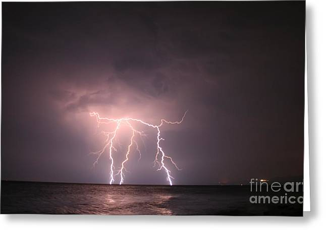 Flash Greeting Cards - Lightning At Open Sea Greeting Card by Leyla Ismet