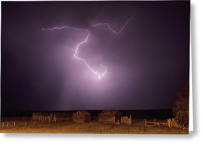 Images Lightning Greeting Cards - Lightning Bolt Over Some Abandoned Greeting Card by Robert Postma