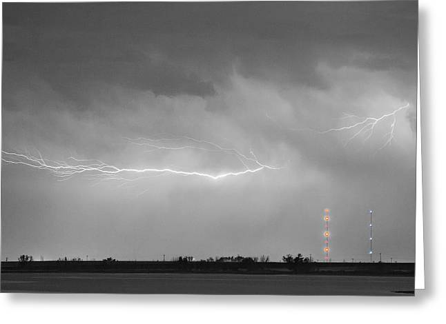 Lightning Gifts Photographs Greeting Cards - Lightning Bolting Across the Sky BWSC Greeting Card by James BO  Insogna