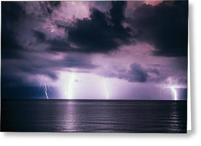 Lightning Photography Photographs Greeting Cards - Lightning Bolts Over Gulf Coast Greeting Card by Panoramic Images