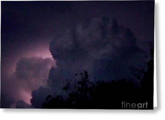 Storm Lovers Art Greeting Cards - Lightning colors the sky Greeting Card by Gail Matthews