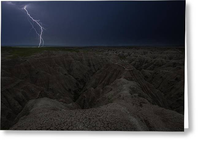 Lightning Strike Greeting Cards - Lightning Crashes Greeting Card by Aaron J Groen
