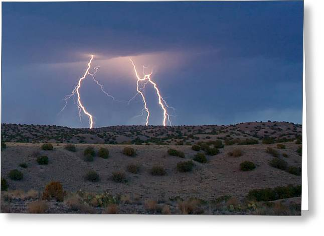 Lightning Strike Greeting Cards - Lightning Dance over the New Mexico Desert Greeting Card by Mary Lee Dereske