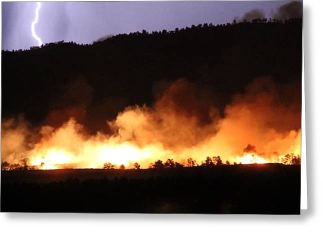 Greeting Card featuring the photograph Lightning During Wildfire by Bill Gabbert