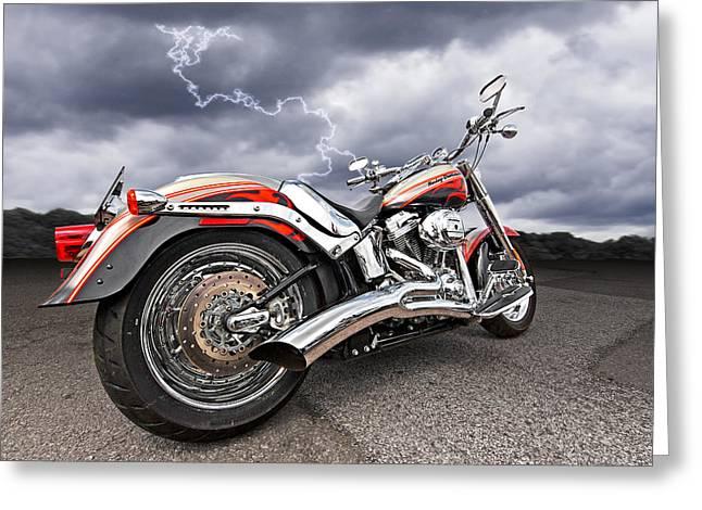 Red Hog Greeting Cards - Lightning Fast - Screamin Eagle Harley Greeting Card by Gill Billington