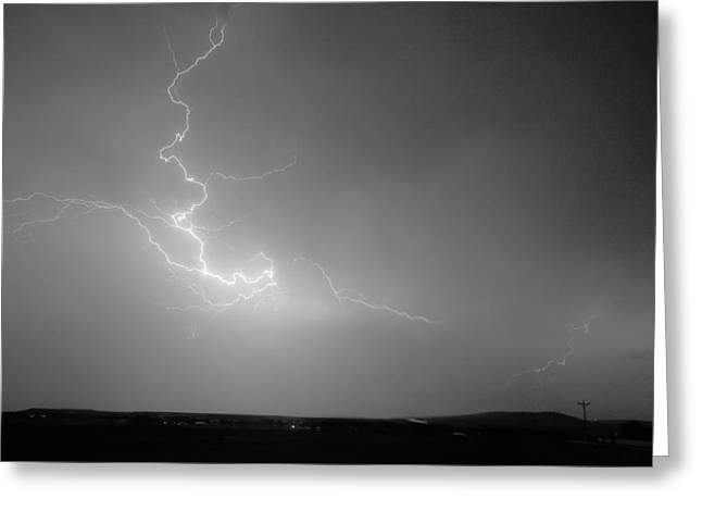 Lightning Goes Boom In The Middle Of The Night Bw Greeting Card by James BO  Insogna