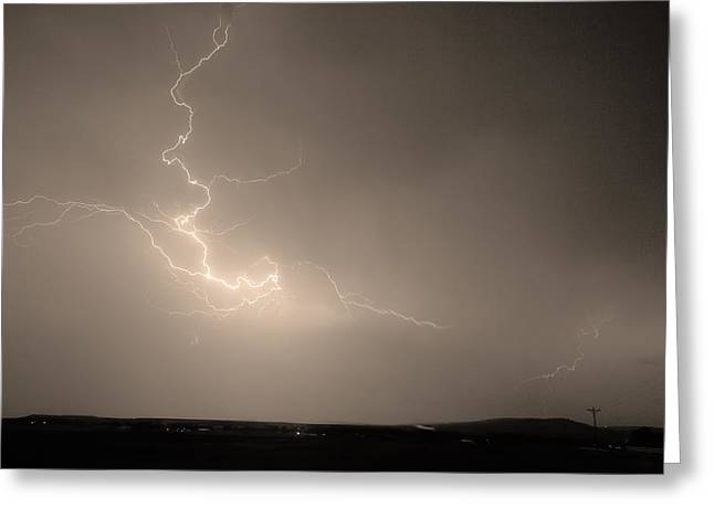 Lightning Goes Boom In The Middle of The Night Sepia Greeting Card by James BO  Insogna