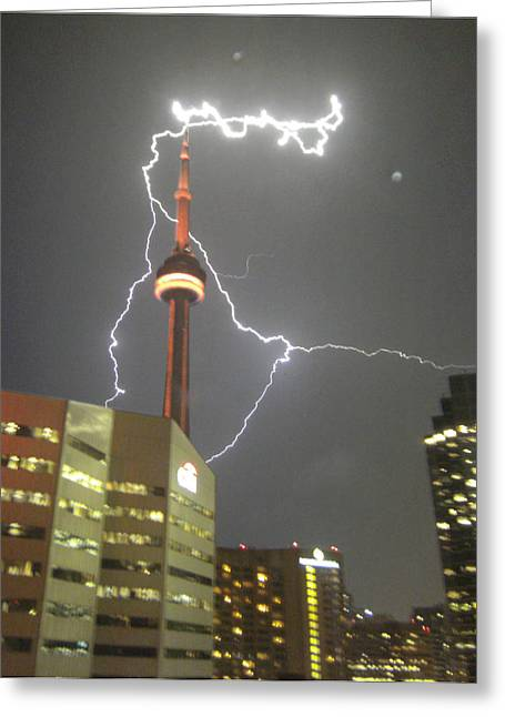 Lightning Photographs Photographs Greeting Cards - Lightning Hits CN Tower Greeting Card by Ken Branch