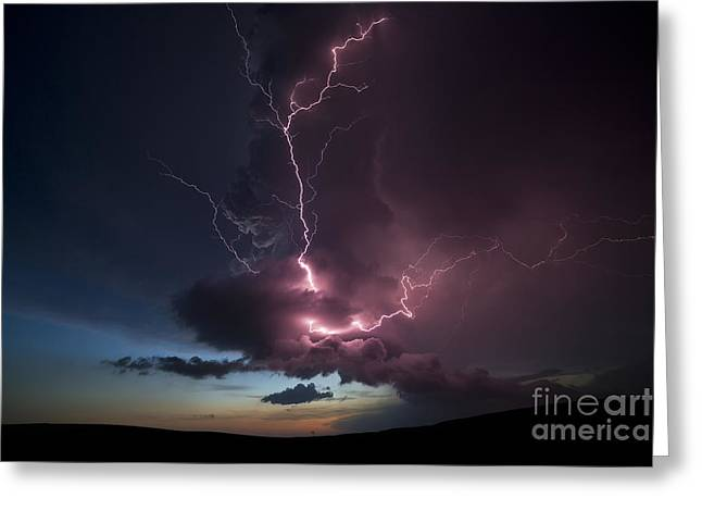 Wheat Field Sky Pictures Greeting Cards - Lightning  Greeting Card by Jeremy Holmes