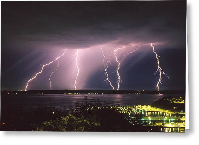 Lightning Greeting Card by King Wu