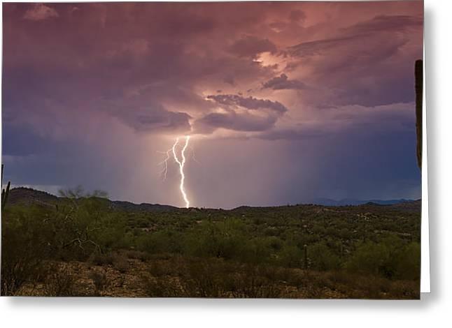 Arizona Lightning Greeting Cards - Lightning Lights Up the Desert  Greeting Card by Saija  Lehtonen