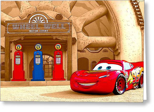 Lake Buena Vista Greeting Cards - Lightning McQueen Greeting Card by Kenneth Krolikowski