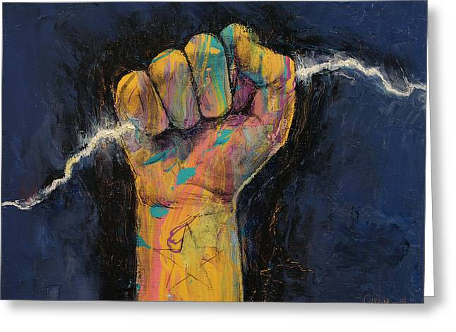 Clenched Fist Greeting Cards - Lightning Greeting Card by Michael Creese