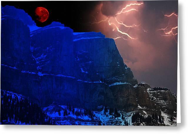 Lightning Photographer Digital Greeting Cards - Lightning Moon Greeting Card by Andrea Lawrence