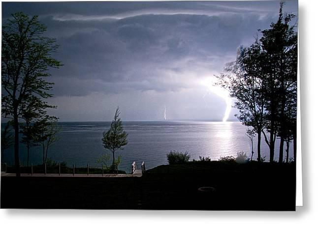 Flash Greeting Cards - Lightning on Lake Michigan at Night Greeting Card by Mary Lee Dereske