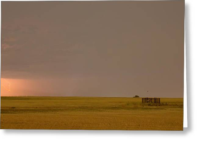 Lightning Gifts Photographs Greeting Cards - Lightning On the Horizon of Oil Fields  Greeting Card by James BO  Insogna