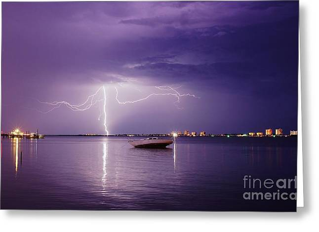 Lightning Photographer Greeting Cards - Lightning On the Indian River Greeting Card by Lynda Dawson-Youngclaus