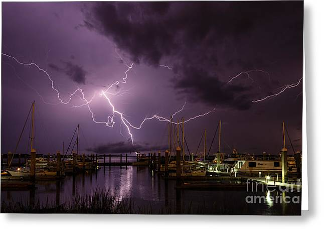 Lightning Over Fernandina Beach Marina Amelia Island Florida Greeting Card by Dawna  Moore Photography