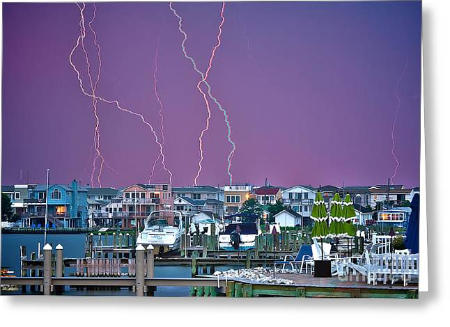 Lbi Greeting Cards - Lightning Over LBI Greeting Card by Mark Miller