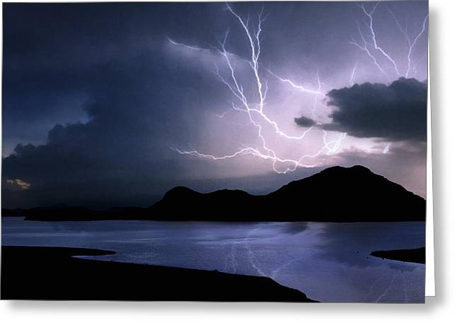 Lightning Over Quartz Mountains - Oklahoma Greeting Card by Jason Politte