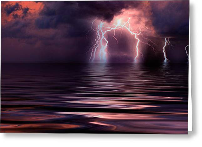 Photography Lightning Greeting Cards - Lightning Over The Sea Greeting Card by Panoramic Images