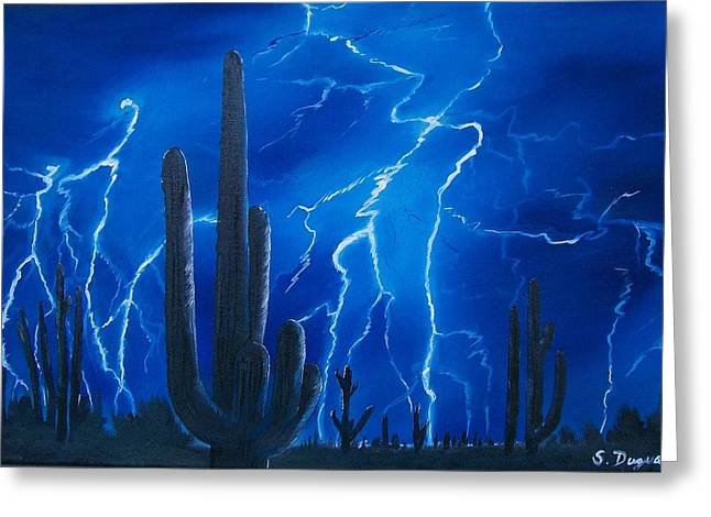 Storm Prints Greeting Cards - Lightning  over the Sonoran Greeting Card by Sharon Duguay