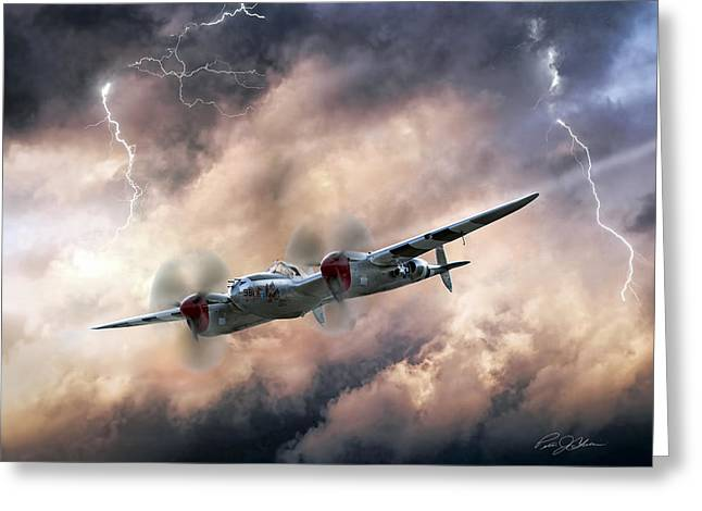 P-38 Greeting Cards - Lightning Race Greeting Card by Peter Chilelli