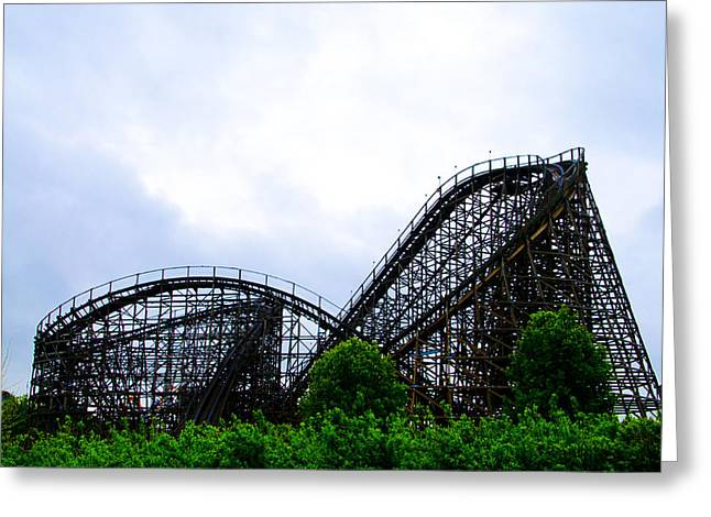 Wooden Coaster Greeting Cards - Lightning Racer - Hershey Park Greeting Card by Bill Cannon
