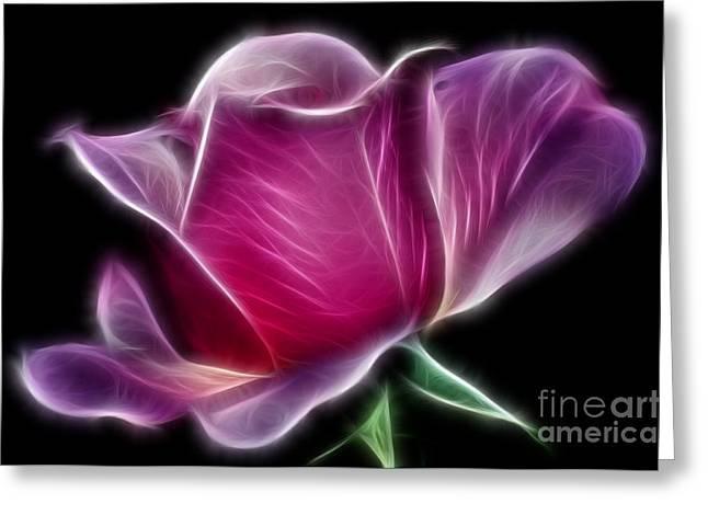 Lightning Rose Greeting Card by Kaye Menner
