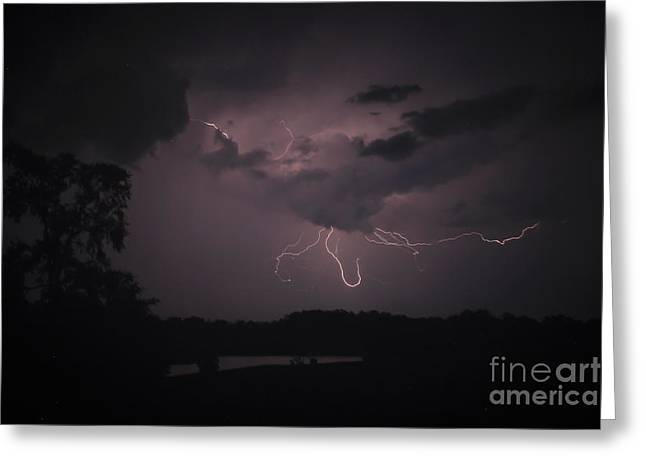 Stormy Weather Greeting Cards - Thunderstorm Lightning Spider Greeting Card by Reid Callaway