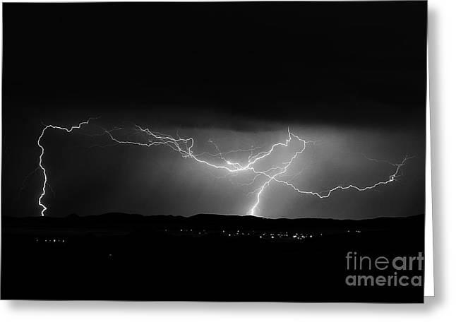 Arizona Lightning Digital Art Greeting Cards - Lightning Stirke Greeting Card by K D Graves