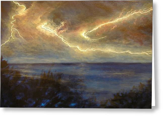 Sunset Greeting Cards Greeting Cards - Lightning Storm Greeting Card by Affordable Art Halsey