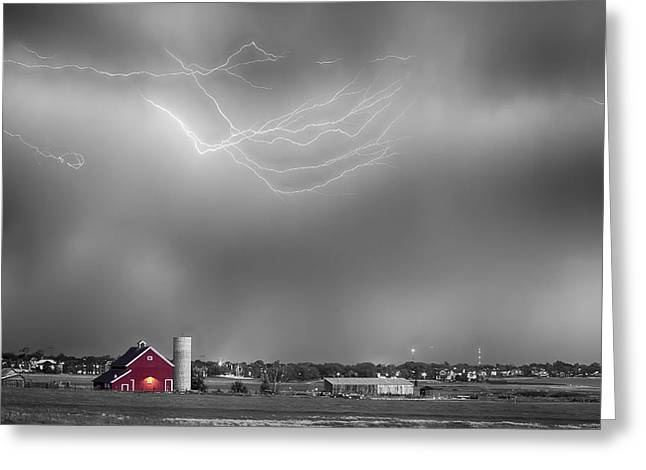 Lohr-mcintosh Farm Greeting Cards - Lightning Storm And The Big Red Barn BWSC Greeting Card by James BO  Insogna