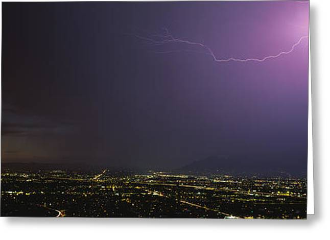 Intensity Greeting Cards - Lightning Storm At Night Greeting Card by Panoramic Images