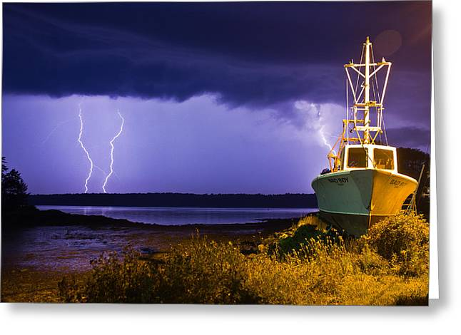 Harpswell Greeting Cards - Lightning Storm Greeting Card by Benjamin Williamson