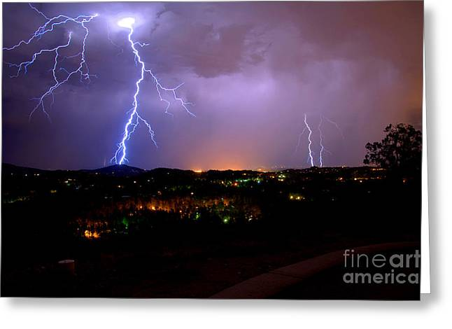 Prescott Greeting Cards - Lightning Storm Greeting Card by K D Graves