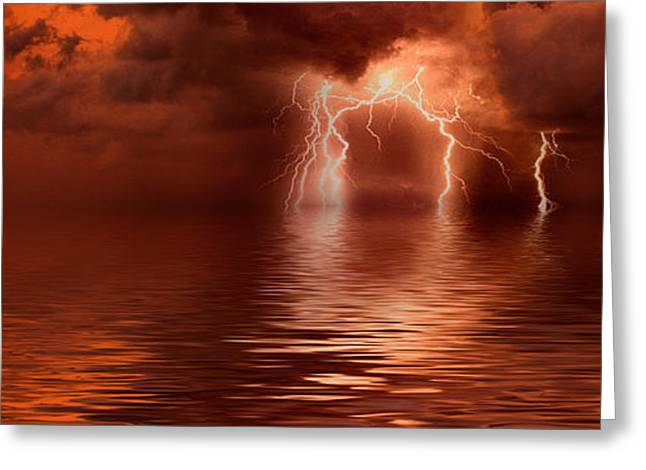 Lightning Photography Photographs Greeting Cards - Lightning Storm Over The Sea Greeting Card by Panoramic Images