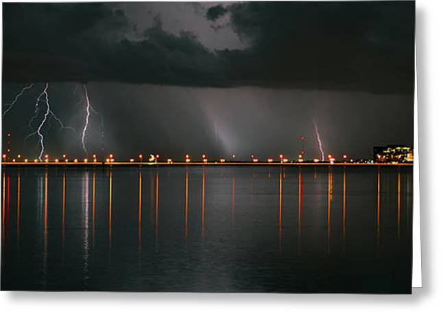 Recently Sold -  - Summer Storm Greeting Cards - Lightning Storm pano work A Greeting Card by David Lee Thompson