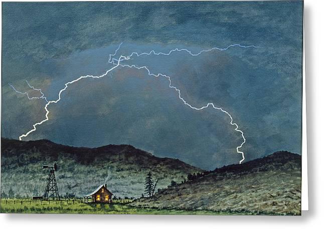 Lightning Landscapes Greeting Cards - Lightning Storm   Greeting Card by Paul Krapf